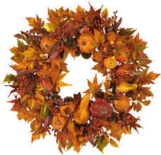 nearly 4648 harvest wreath fall 28 inch gold