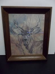 home interior deer picture vintage large 1978 the silent buck deer framed picture home