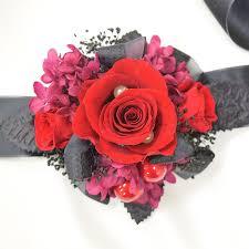 Red Rose Wrist Corsage Wrist Corsage Wc09 Red U0026 Black U2013 Endura Flora