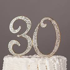 30 cake topper for 30th birthday or anniversary gold