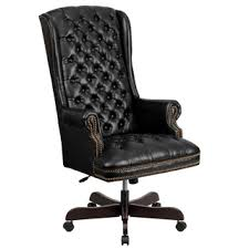 Leather Office Desk Chair High Back Traditional Tufted Leather Executive Office Chair Free