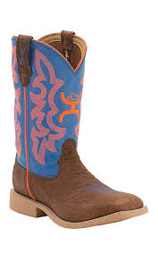 twisted x s boots twisted x hooey youth cognac bullhide with neon blue orange logo