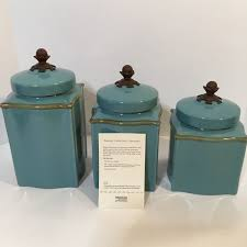 Tuscan Kitchen Canisters by New Southern Living At Home Tuscan Blue Collection Canister Set 3