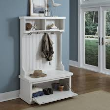 furniture white stained wooden hall tree bench with shoe storage