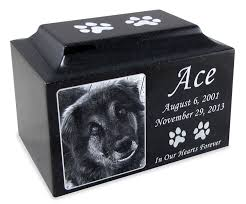 ash urns black granite standard size pet cremation urn with engraved photo