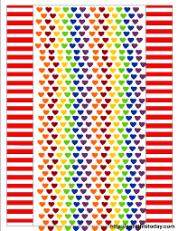 candy wrappers printable with rainbow colored hearts