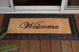 Long Doormats Welcome U0027windsor U0027 Long Scroll Rubber Double Door Mat 55 X 120cm