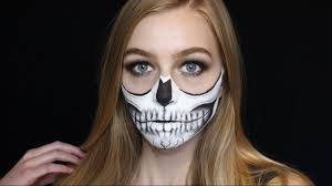 half halloween makeup half skull halloween makeup tutorial kayla jasmin youtube