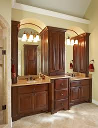 Bathroom Counter Storage Tower How Tall Are The Two Vanity Sinks And The Center Cabinet
