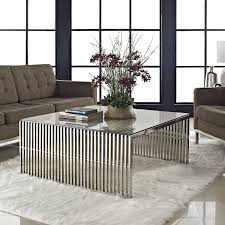 amazon com modway gridiron stainless steel coffee table with