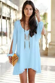 light blue shift dress light blue v neck chiffon shift dress 013224 long sleeve dresses
