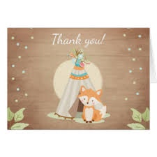 woodland thank you cards invitations greeting photo cards