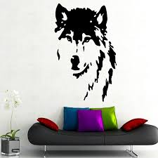 popular wolf wall decal buy cheap wolf wall decal lots from china removable wall decals vinyl sticker wolf decal dog animal home decor art murals gw 11