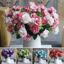 Fake Flowers For Wedding - austin bunch 15 heads spring silk flowers artificial rose wedding