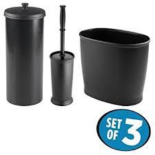 Black Bathroom Trash Can Amazon Com Mdesign Toilet Paper Roll Holder Wastebasket Trash