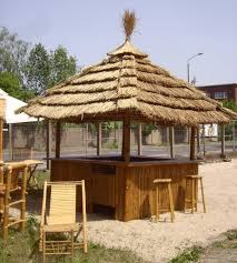 Sunjoy Tiki Gazebo by Tiki Bar 360 Degree Tropical Kiosk With 8 Bar Stools U0026 Thatch