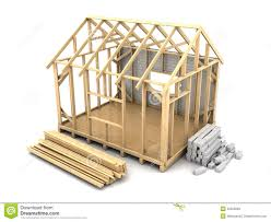 frame house construction stock illustration image how build small