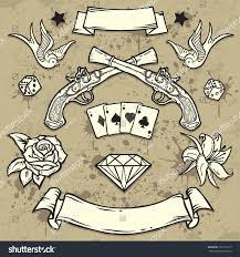 set old tattoo elementstattooart design stock vector