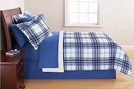 Plaid Bed Sets Mainstays Blue Plaid Bed In A Bag Bedding Set