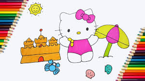 coloring pages hello kitty kitty goes to the beach hello kitty
