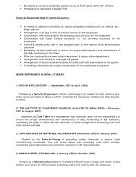 Responsibility Resume Glamorous Admin Executive Roles And Responsibilities Resume 53 In