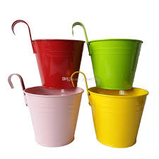 big size d14 5 h17 5cm mixed color pure garden bucket tin box iron