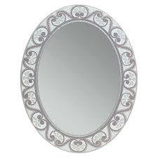 deco mirror 23 in x 29 in earthtone mosaic oval mirror 1128