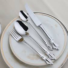 children cutlery set promotion shop for promotional children 24 pieces stainless steel flatware set crown handle knives fork spoon silverware sets wedding cutlery set restaurant dinnerware