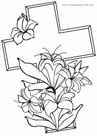coloring pages of crosses with flowers coloring page