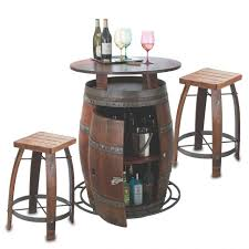 Vintage Bistro Table Furniture Wine Barrel Bar Stools Outdoor Vintage Oak Bistro