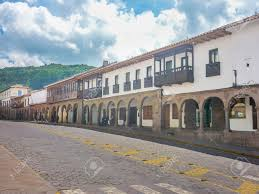 perspective view traditional spanish colonial style street