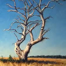 dead standing tree acrylic painting lesson canvas ii