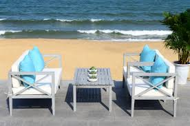 White Outdoor Furniture Pat7031b Patio Sets 4 Piece Furniture By Safavieh