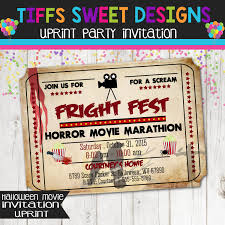 scary halloween party invitations fright fest horror movie marathon movie ticket invitation