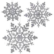 silver glitter snowflakes 36 assorted sized