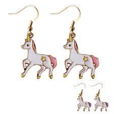 unicorn earrings girl charm enamel glaze unicorn metal stud earrings