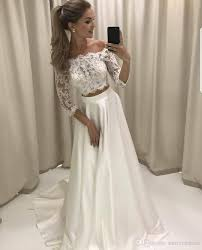 lace top wedding dress discount three quarter sleeves lace top shoulder two