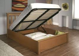 Cottage Platform Bed With Storage Beige Wooden Diy Bed Frame With Storage Under Black Lift Up Bed