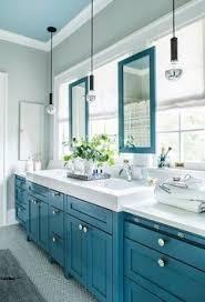 bathroom blue vanity set with bathroom mirror chrome faucet
