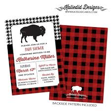 buffalo baby shower invitation baby boy shower houndstooth buffalo