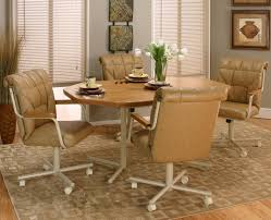 leather dining room chairs with casters dining room table caster