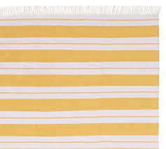 Yellow And Blue Outdoor Rug Kilner Stripe Recycled Yarn Indoor Outdoor Rug Yellow Pottery Barn