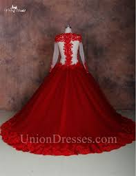 ball gown see through long sleeve red tulle lace plus size wedding