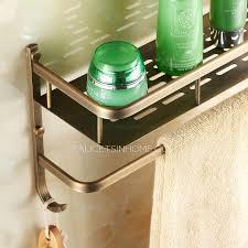 brass double wall mounted bathroom shelves