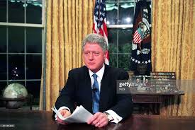president clinton in the oval office after his television address