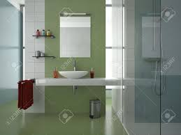Blue Tile Bathroom by Modern Bathroom With Green White And Blue Tiles Stock Photo