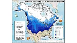 weather for thanksgiving what are the odds of a white thanksgiving in the united states
