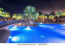 Pool At Night Swimming Pool Luxury Caribbean Tropical Resort Stock Photo
