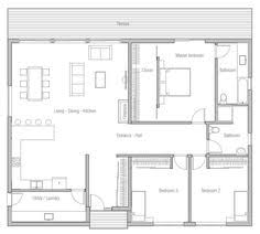 Simple Three Bedroom House Plan Floor Plan For A Small House 1 150 Sf With 3 Bedrooms And 2 Baths