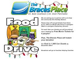 the braces place food drive at the braces place
